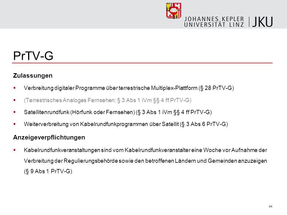 44 PrTV-G Zulassungen Verbreitung digitaler Programme über terrestrische Multiplex-Plattform (§ 28 PrTV-G) (Terrestrisches Analoges Fernsehen; § 3 Abs 1 iVm §§ 4 ff PrTV-G) Satellitenrundfunk (Hörfunk oder Fernsehen) (§ 3 Abs 1 iVm §§ 4 ff PrTV-G) Weiterverbreitung von Kabelrundfunkprogrammen über Satellit (§ 3 Abs 6 PrTV-G) Anzeigeverpflichtungen Kabelrundfunkveranstaltungen sind vom Kabelrundfunkveranstalter eine Woche vor Aufnahme der Verbreitung der Regulierungsbehörde sowie den betroffenen Ländern und Gemeinden anzuzeigen (§ 9 Abs 1 PrTV-G)