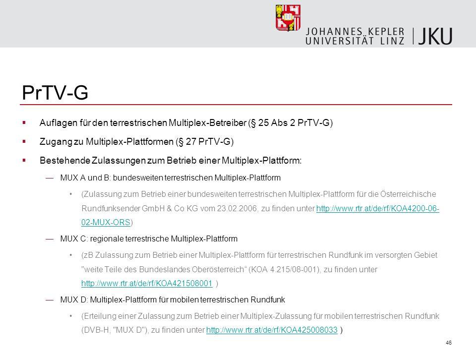 46 PrTV-G Auflagen für den terrestrischen Multiplex-Betreiber (§ 25 Abs 2 PrTV-G) Zugang zu Multiplex-Plattformen (§ 27 PrTV-G) Bestehende Zulassungen