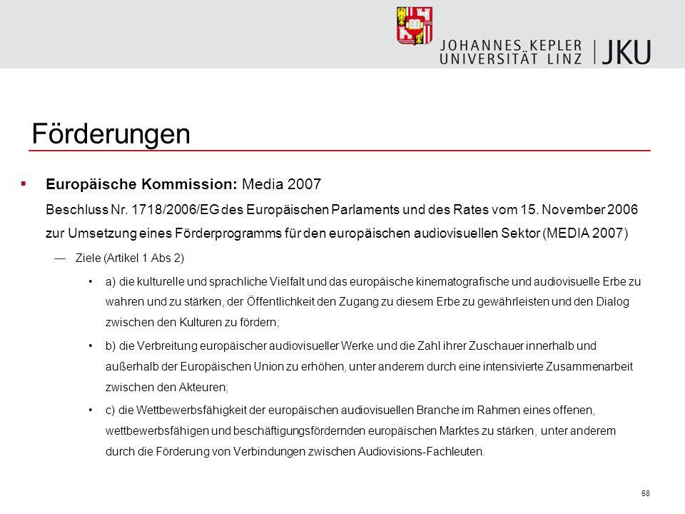 58 Förderungen Europäische Kommission: Media 2007 Beschluss Nr. 1718/2006/EG des Europäischen Parlaments und des Rates vom 15. November 2006 zur Umset