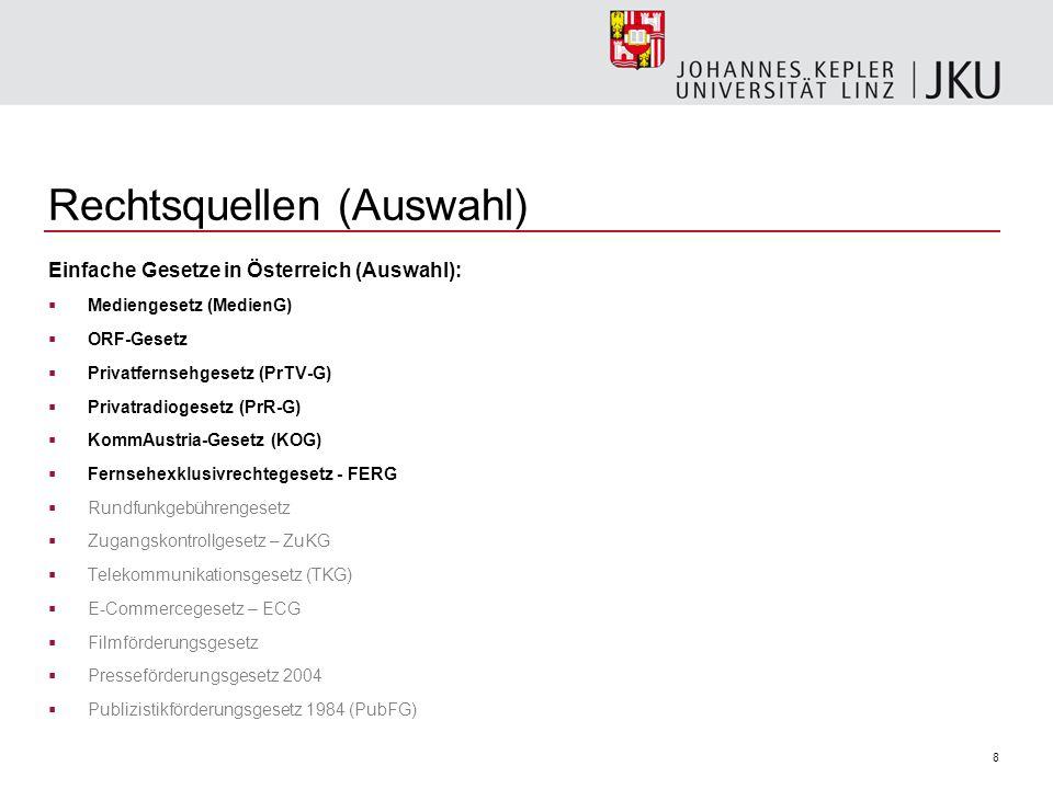 8 Rechtsquellen (Auswahl) Einfache Gesetze in Österreich (Auswahl): Mediengesetz (MedienG) ORF-Gesetz Privatfernsehgesetz (PrTV-G) Privatradiogesetz (