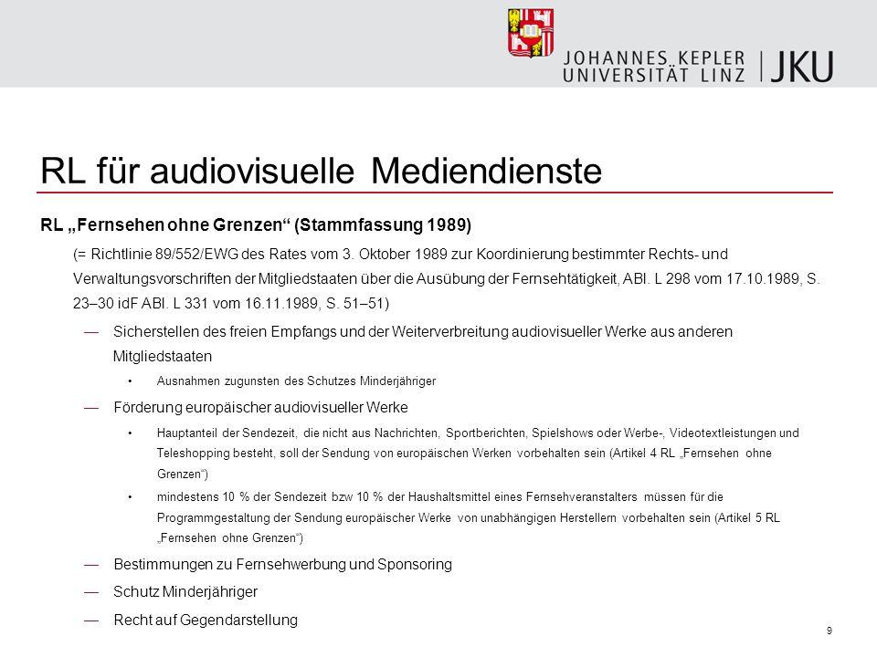 50 FERG Bundesgesetz über die Ausübung exklusiver Fernsehübertragungsrechte (Fernseh Exklusivrechtegesetz - FERG), BGBl 2001/85 Gliederung Geltungsbereich (§ 1 FERG) Ereignisse von erheblicher gesellschaftlicher Bedeutung (§ 2 FERG) Umsetzung des Art 3j der Richtlinie 89/552/EWG zur Koordinierung bestimmter Rechts- und Verwaltungsvorschriften der Mitgliedstaaten über die Ausübung der Fernsehtätigkeit idF RL 2007/65/EG (RL für audiovisuelle Mediendienste ) Verpflichtungen der Fernsehveranstalter (§ 3 FERG) Verordnung über Ereignisse von erheblicher gesellschaftlicher Bedeutung (§ 4 FERG) Recht der Kurzberichterstattung (§ 5 FERG) Bundeskommunikationssenat (§ 6 FERG) Strafbestimmungen und Verfahren (§ 7 FERG) Verweisungen (§ 8 FERG) Vollziehung (§ 9 FERG) Umsetzungshinweis (§ 10 FERG) In-Kraft-Treten (§ 11 FERG)