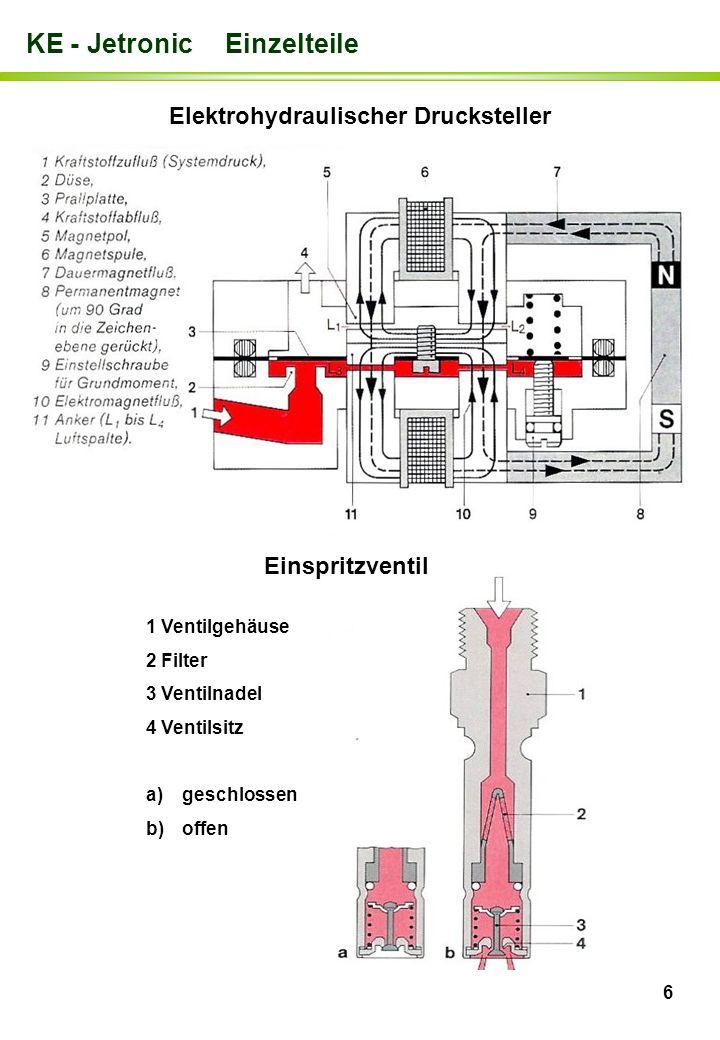6 KE - Jetronic Einzelteile Elektrohydraulischer Drucksteller 1 Ventilgehäuse 2 Filter 3 Ventilnadel 4 Ventilsitz a)geschlossen b)offen Einspritzventi