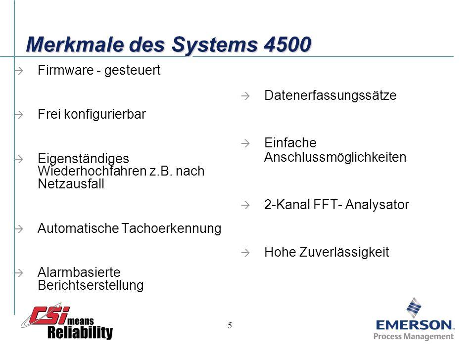 5 Merkmale des Systems 4500 Firmware - gesteuert Frei konfigurierbar Eigenständiges Wiederhochfahren z.B.