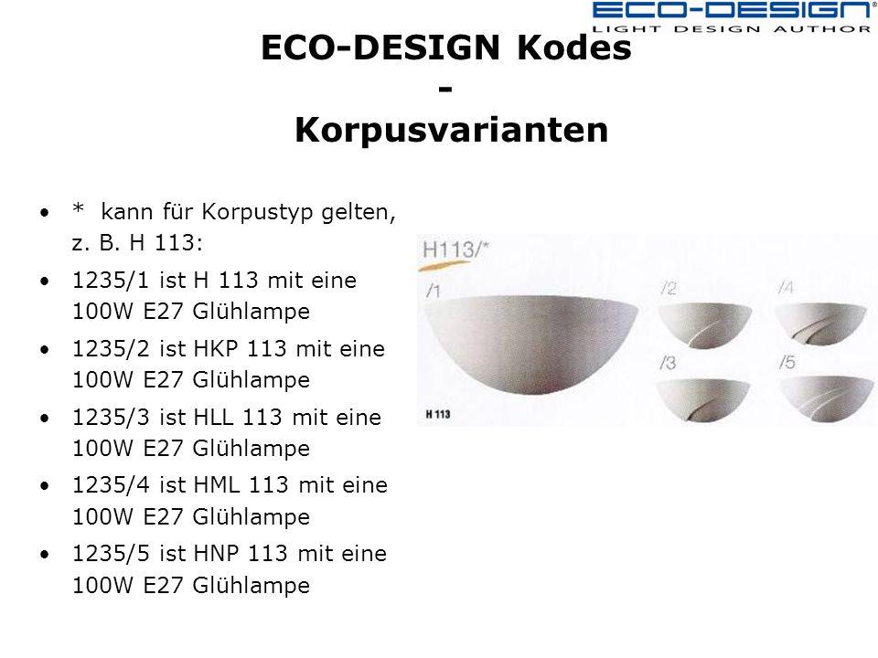 ECO-DESIGN Kodes - Korpusvarianten * kann für Korpustyp gelten, z.