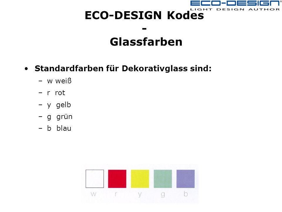 ECO-DESIGN Kodes - Glassfarben Standardfarben für Dekorativglass sind: –w weiß –r rot –y gelb –g grün –b blau