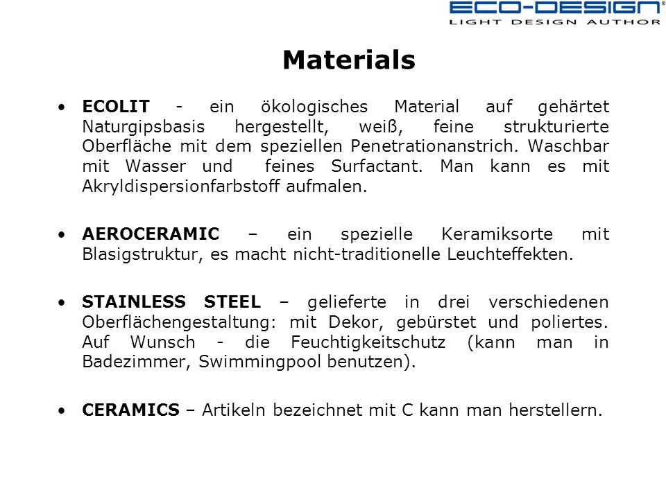 Materials ECOLIT - ein ökologisches Material auf gehärtet Naturgipsbasis hergestellt, weiß, feine strukturierte Oberfläche mit dem speziellen Penetrationanstrich.