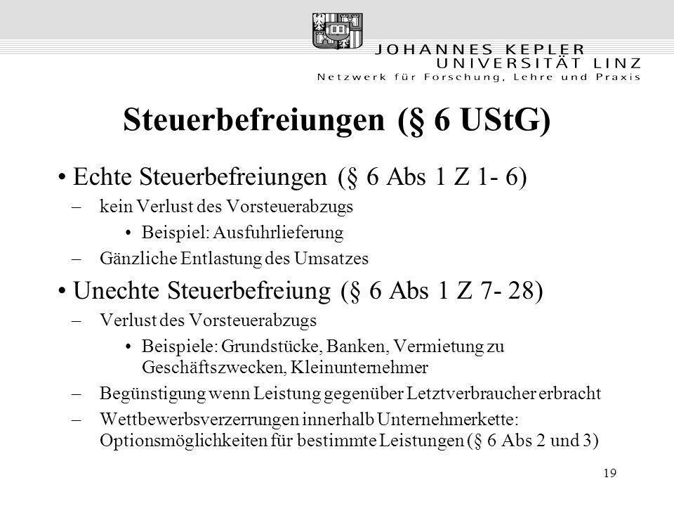 19 Steuerbefreiungen (§ 6 UStG) Echte Steuerbefreiungen (§ 6 Abs 1 Z 1- 6) –kein Verlust des Vorsteuerabzugs Beispiel: Ausfuhrlieferung –Gänzliche Ent