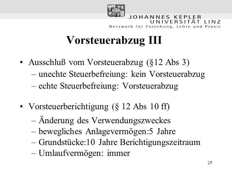 25 Vorsteuerabzug III Ausschluß vom Vorsteuerabzug (§12 Abs 3) –unechte Steuerbefreiung: kein Vorsteuerabzug –echte Steuerbefreiung: Vorsteuerabzug Vo