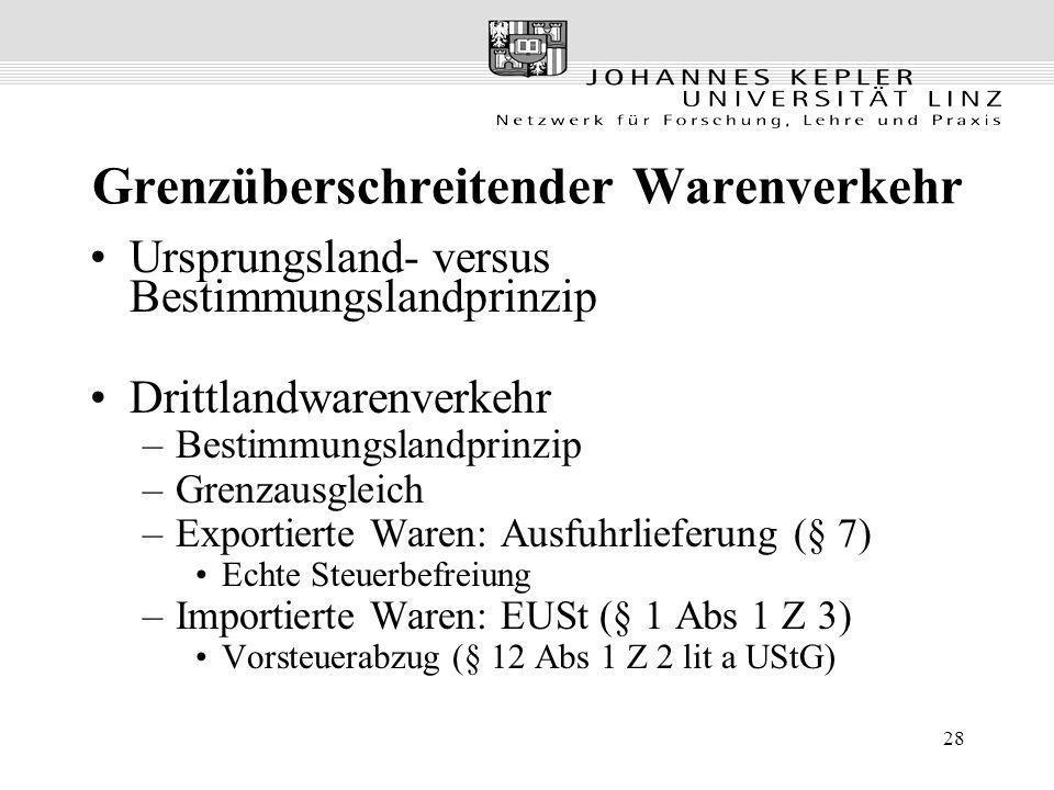 28 Grenzüberschreitender Warenverkehr Ursprungsland- versus Bestimmungslandprinzip Drittlandwarenverkehr –Bestimmungslandprinzip –Grenzausgleich –Expo