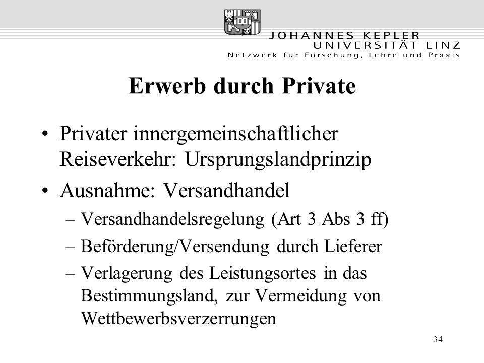 34 Erwerb durch Private Privater innergemeinschaftlicher Reiseverkehr: Ursprungslandprinzip Ausnahme: Versandhandel –Versandhandelsregelung (Art 3 Abs