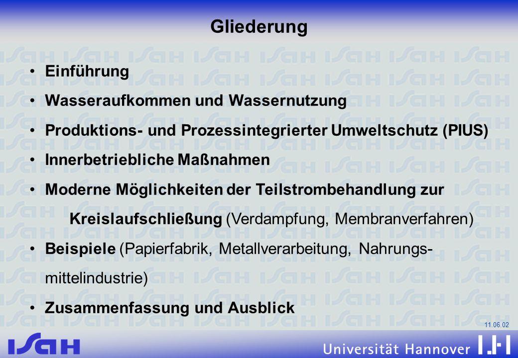 11.06.02 Einführung Wasseraufkommen und Wassernutzung Produktions- und Prozessintegrierter Umweltschutz (PIUS) Innerbetriebliche Maßnahmen Moderne Mög