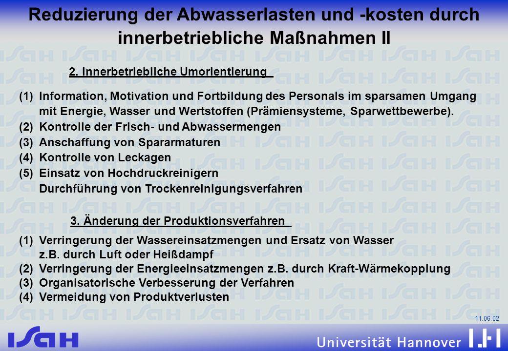 11.06.02 Reduzierung der Abwasserlasten und -kosten durch innerbetriebliche Maßnahmen II 2. Innerbetriebliche Umorientierung (1)Information, Motivatio