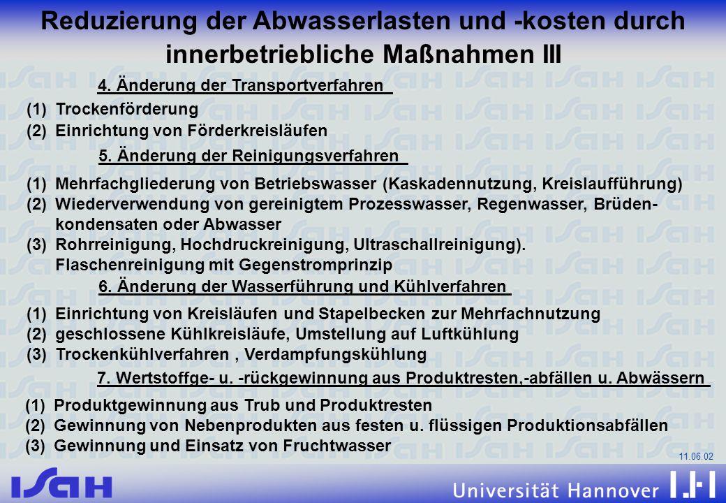 11.06.02 Reduzierung der Abwasserlasten und -kosten durch innerbetriebliche Maßnahmen III 4. Änderung der Transportverfahren (1)Trockenförderung (2)Ei
