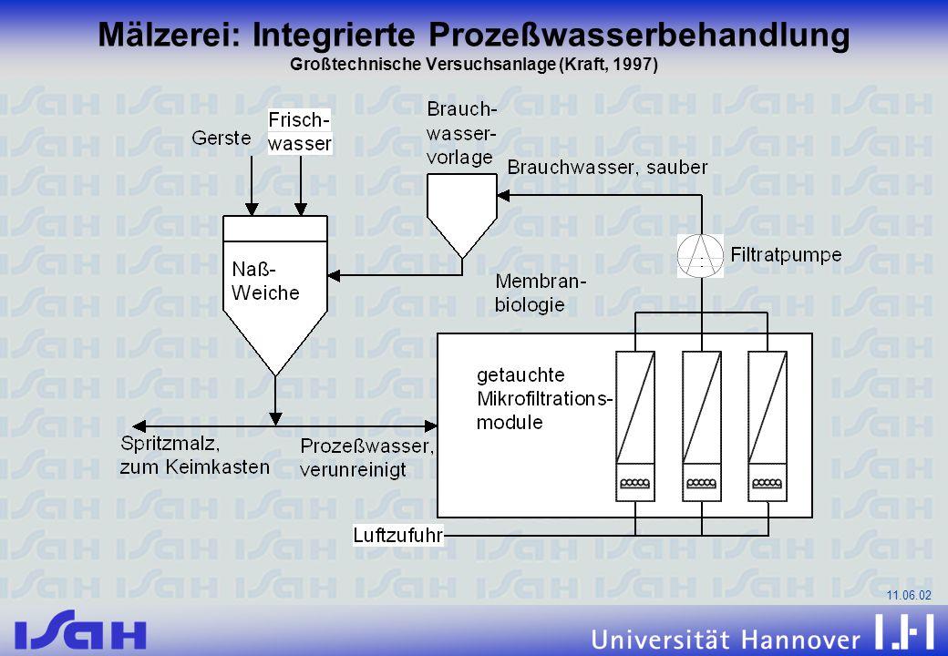 11.06.02 Mälzerei: Integrierte Prozeßwasserbehandlung Großtechnische Versuchsanlage (Kraft, 1997)