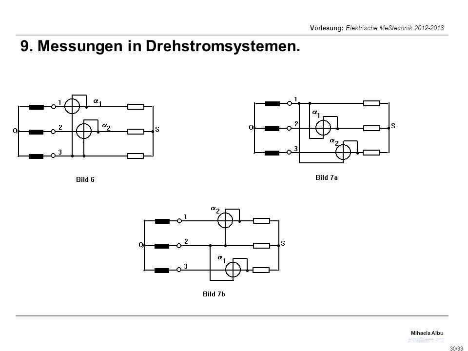 Mihaela Albu albu@ieee.org Vorlesung: Elektrische Meßtechnik 2012-2013 30/33 9. Messungen in Drehstromsystemen.