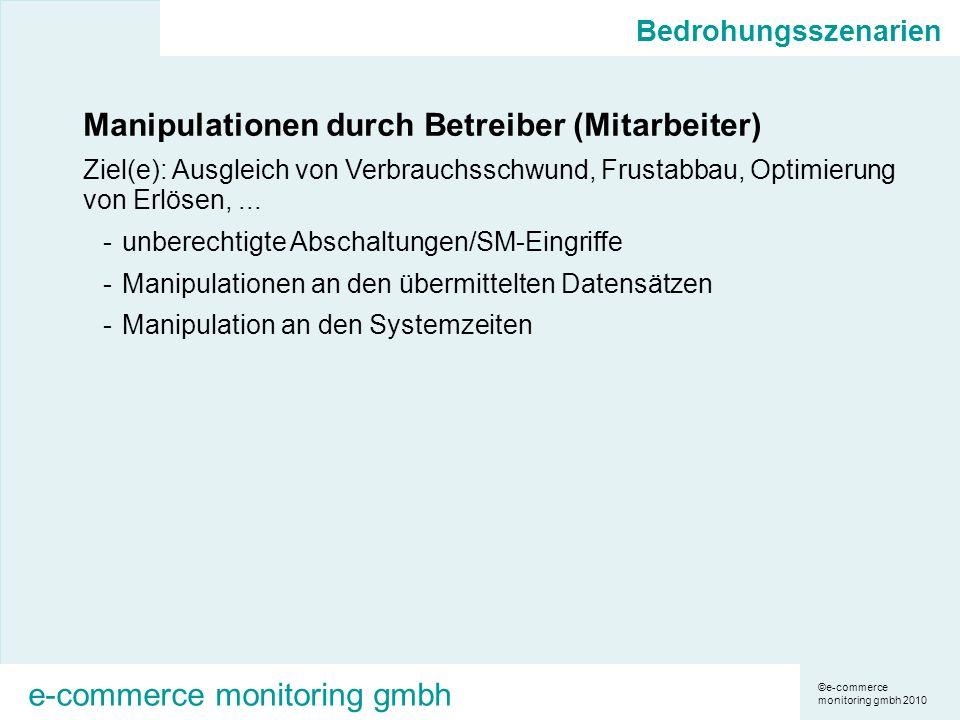 ©e-commerce monitoring gmbh 2010 e-commerce monitoring gmbh Bedrohungsszenarien Manipulationen durch Betreiber (Mitarbeiter) Ziel(e): Ausgleich von Verbrauchsschwund, Frustabbau, Optimierung von Erlösen,...
