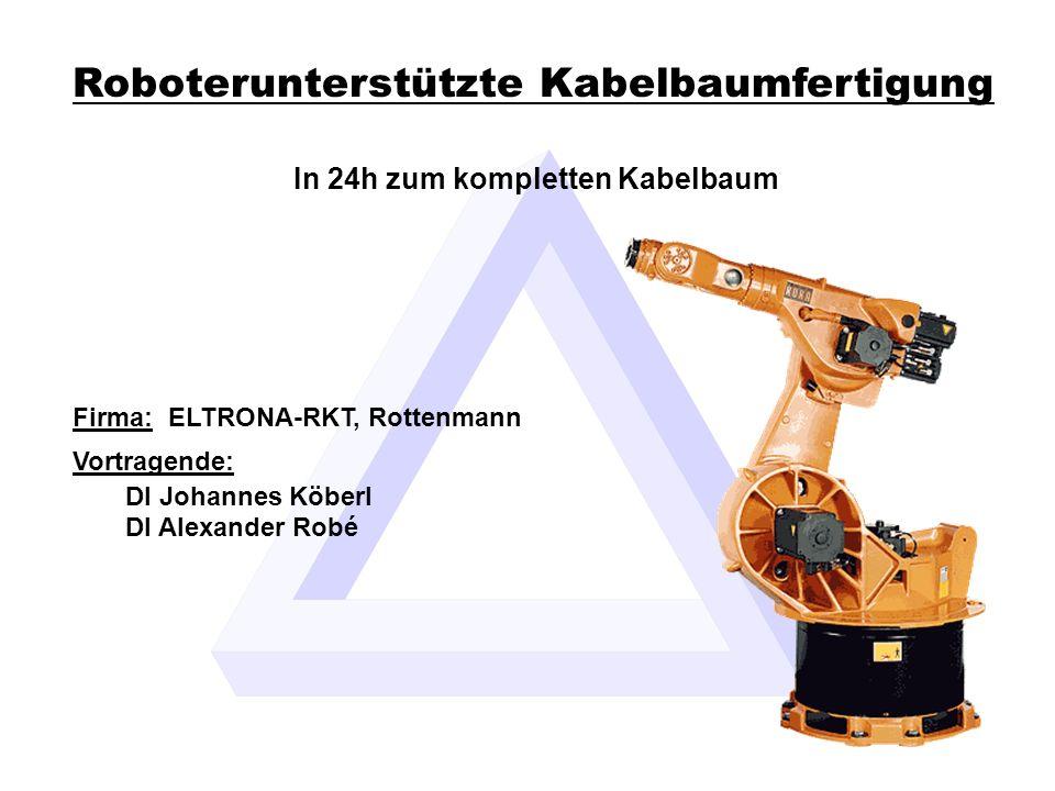 DI Köberl, DI Robé Generierung der Exportfiles 12ELTRONA-RKT Roboterunterstützte Kabelbaumfertigung Roboterprogramm: sämtliche Koordinaten der Bauteile werden im Programmcode hinterlegt die Verfahrwege für die einzelnen Kabel werden ermittelt Schnittliste für Einzeladerfertigung: längenoptimierte Schnittliste direkte Einspeisung in den Crimpautomaten und die Bestückungsstation