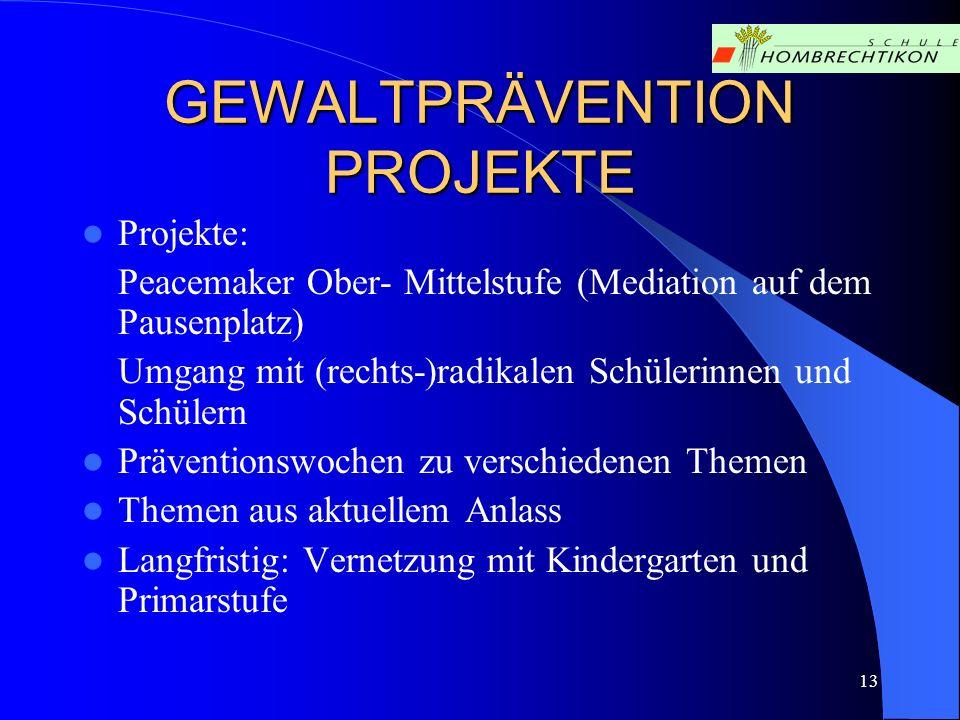 13 GEWALTPRÄVENTION PROJEKTE Projekte: Peacemaker Ober- Mittelstufe (Mediation auf dem Pausenplatz) Umgang mit (rechts-)radikalen Schülerinnen und Sch