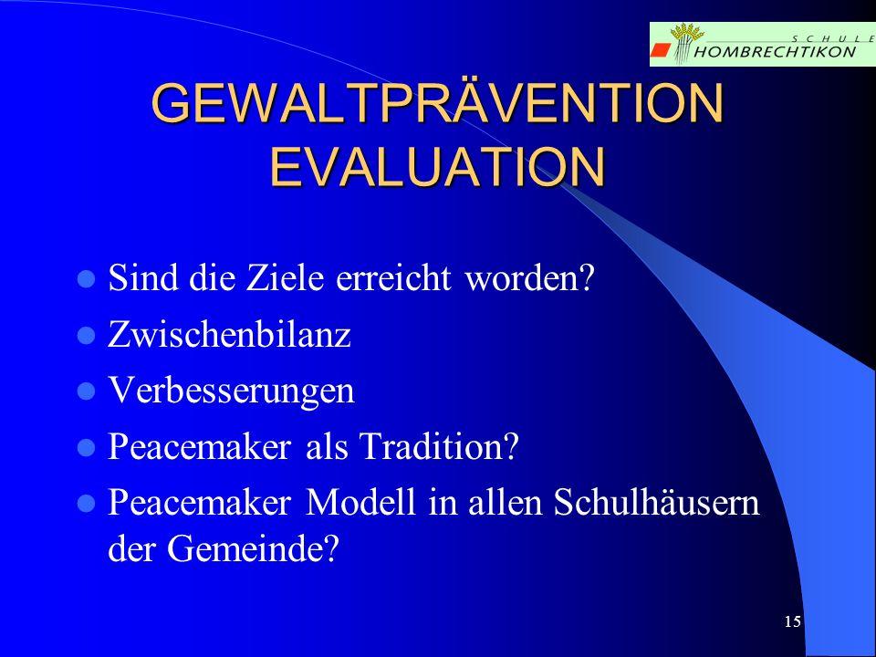 15 GEWALTPRÄVENTION EVALUATION Sind die Ziele erreicht worden? Zwischenbilanz Verbesserungen Peacemaker als Tradition? Peacemaker Modell in allen Schu
