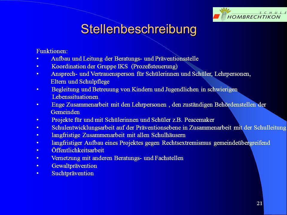 21 Stellenbeschreibung Funktionen: Aufbau und Leitung der Beratungs- und Präventionsstelle Koordination der Gruppe IKS (Prozeßsteuerung) Ansprech- und