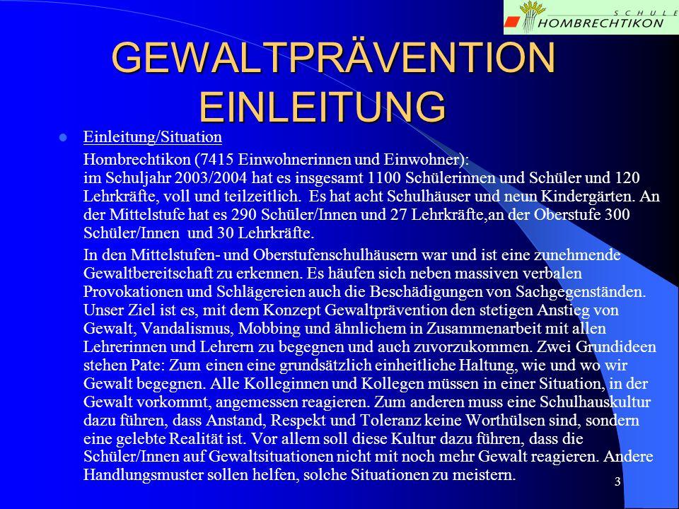 3 GEWALTPRÄVENTION EINLEITUNG Einleitung/Situation Hombrechtikon (7415 Einwohnerinnen und Einwohner): im Schuljahr 2003/2004 hat es insgesamt 1100 Sch