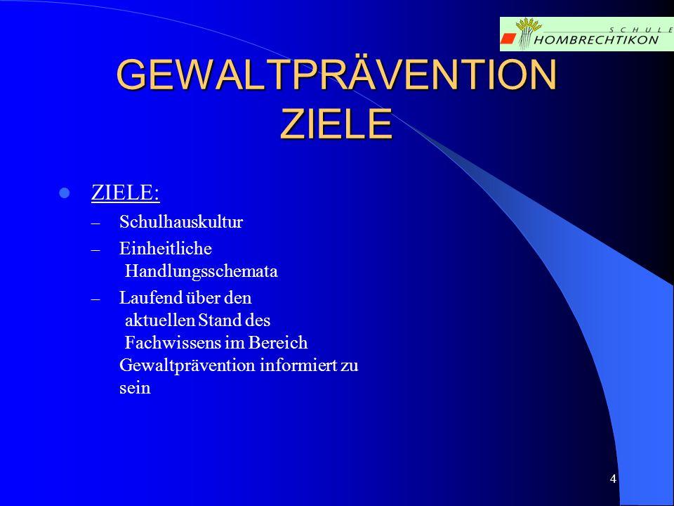 GEWALTPRÄVENTION STRUKTUREN : Gründung Zusammensetzung Ziele Kommunikationswege und Massnahmen Ereignisse 5