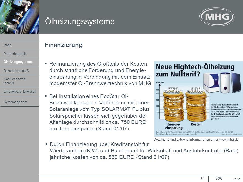 2007 <> MHG Heiztechnik 10 Finanzierung Refinanzierung des Großteils der Kosten durch staatliche Förderung und Energie- einsparung in Verbindung mit d