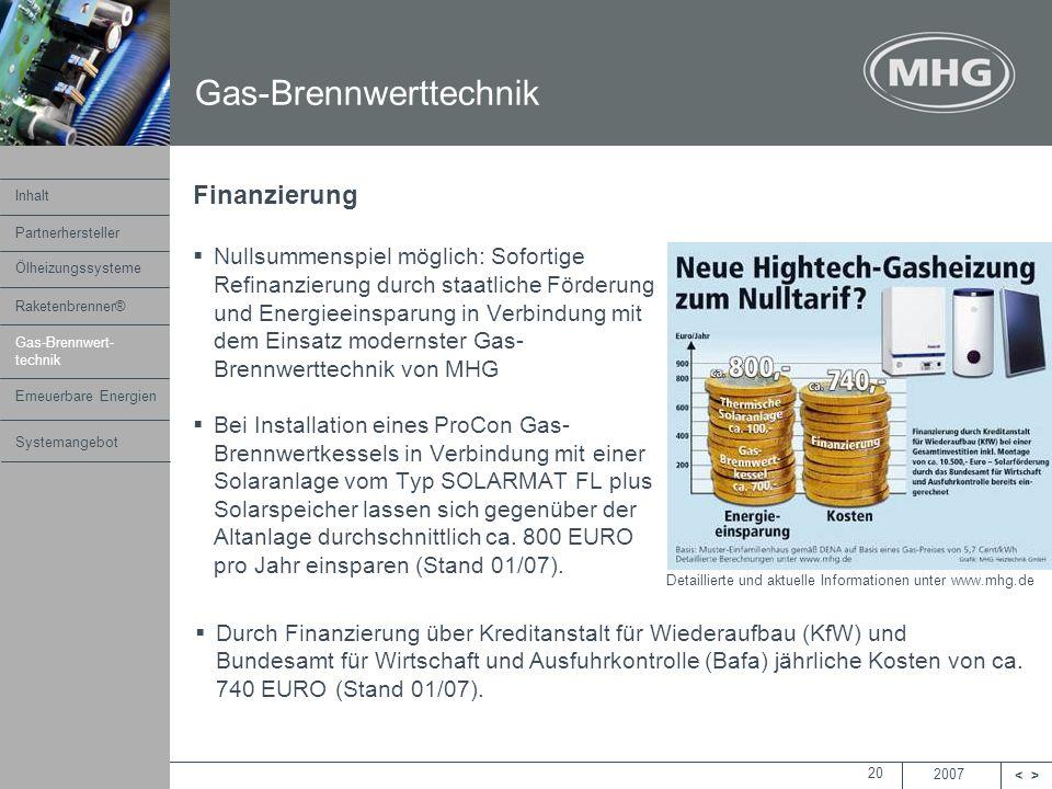 2007 <> MHG Heiztechnik 20 Finanzierung Nullsummenspiel möglich: Sofortige Refinanzierung durch staatliche Förderung und Energieeinsparung in Verbindu