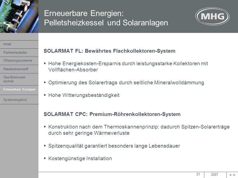 2007 <> MHG Heiztechnik 31 SOLARMAT FL: Bewährtes Flachkollektoren-System Hohe Energiekosten-Ersparnis durch leistungsstarke Kollektoren mit Vollfläch