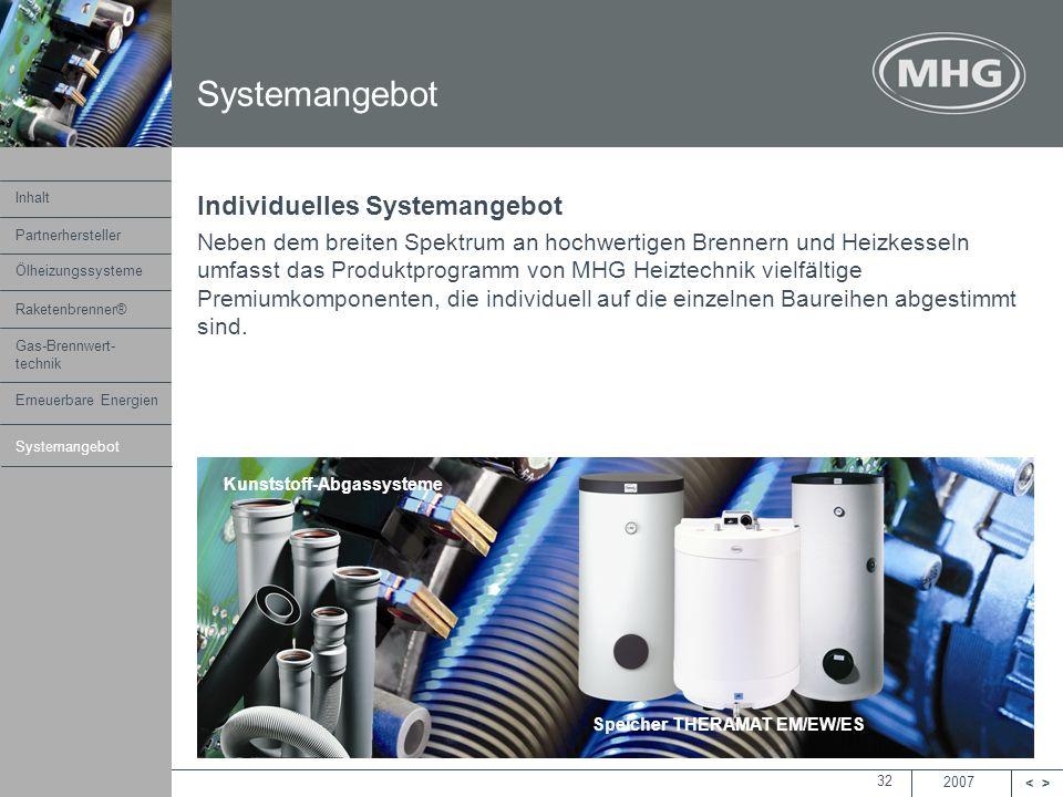 2007 <> MHG Heiztechnik 32 Systemangebot Individuelles Systemangebot Neben dem breiten Spektrum an hochwertigen Brennern und Heizkesseln umfasst das P