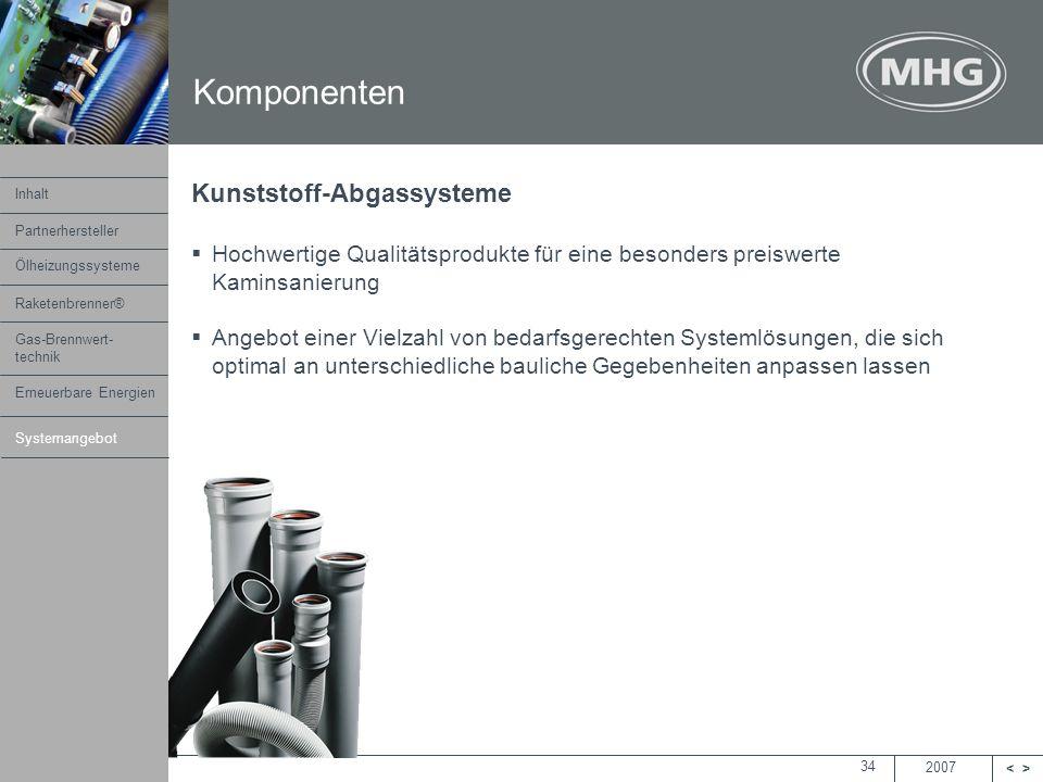 2007 <> MHG Heiztechnik 34 Komponenten Kunststoff-Abgassysteme Hochwertige Qualitätsprodukte für eine besonders preiswerte Kaminsanierung Angebot eine
