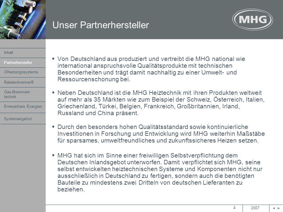 2007 <> MHG Heiztechnik 4 Von Deutschland aus produziert und vertreibt die MHG national wie international anspruchsvolle Qualitätsprodukte mit technis