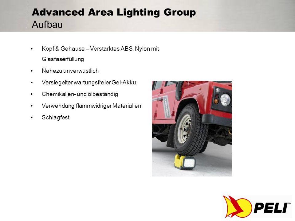 Advanced Area Lighting Group Aufbau Kopf & Gehäuse – Verstärktes ABS, Nylon mit Glasfaserfüllung Nahezu unverwüstlich Versiegelter wartungsfreier Gel-Akku Chemikalien- und ölbeständig Verwendung flammwidriger Materialien Schlagfest