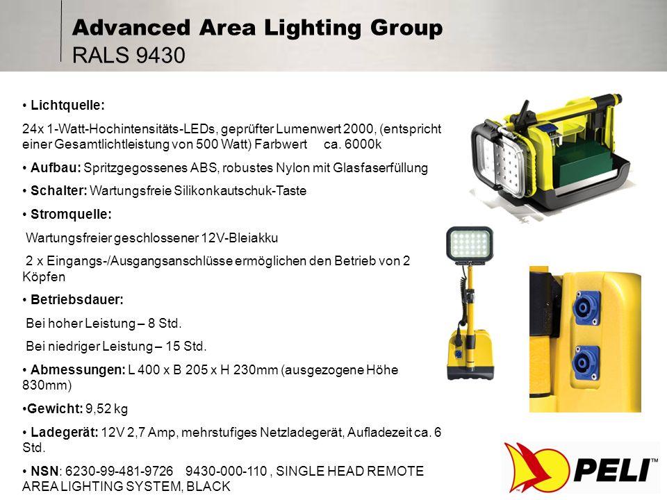 Advanced Area Lighting Group RALS 9450B Lichtquelle: 16x Hochintensitäts-LEDs, geprüfter Lumenwert 1280 Stromquelle: Aufladbarer geschlossener Bleiakku, 6 Stunden Ladezeit Der (im Lieferumfang enthaltene) Diffusor kann montiert werden, um den fokussierten Lichtstrahl in gestreutes Licht umzuwandeln Betriebsdauer: Bei hoher Leistung 9 Std.