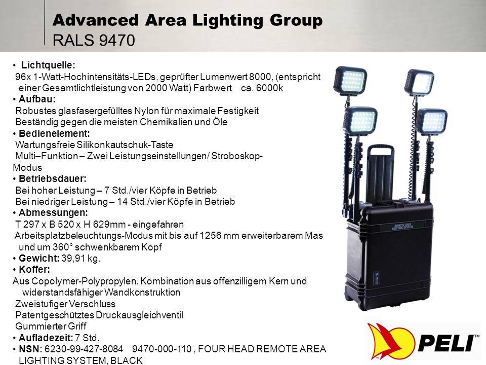 Advanced Area Lighting Group Optionales Zubehör Eine umfassende Reihe an Stativen- und Befestigungs- systemen Rucksack mit zusätzlichem Fassungsvermögen Von 1,2 – 3,5 m