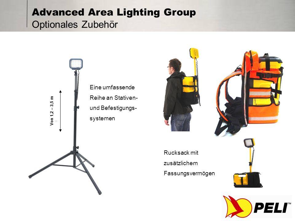 Advanced Area Lighting Group Technologie Verwendung modernster Hochintensitäts-LED-Technologie (über 15 Jahre Lebensdauer bei normaler Beanspruchung) Marktführende Lichtbrenndauer von 8-15 Std.
