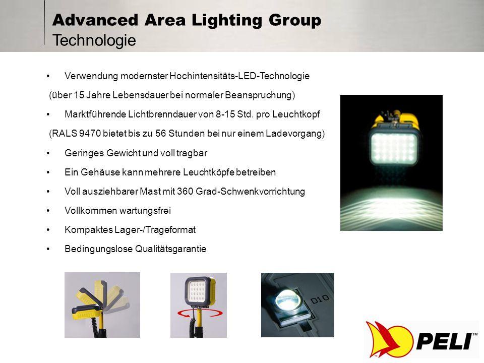 Advanced Area Lighting Group Sicherheitsvorteile Einzigartiges Warnsystem bei niedrigem Batterieladezustand Leiser Betrieb Kein Rauch Geringes Gewicht, reduzierte manuelle Handhabung Keine Kabel, über die man stolpern kann Keine Komponenten aus zerbrechlichem Glas Niedrige Betriebstemperaturen