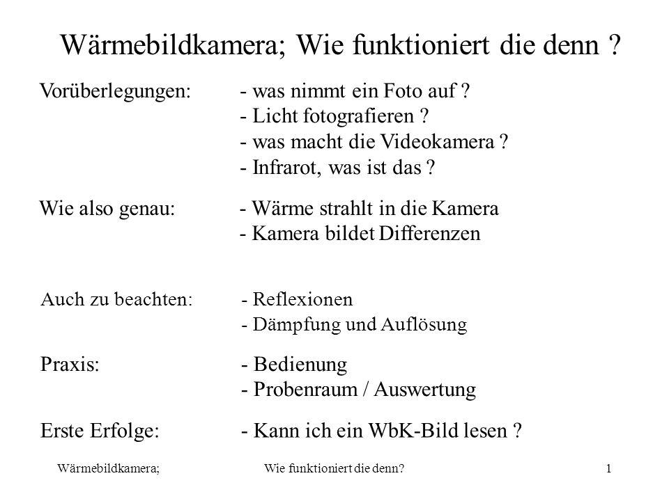 Wärmebildkamera;Wie funktioniert die denn?22 Praxis:- Probenraum, 3/3, Auswertung I II abcde g f Wärmflasche Heizstrahler Reflekt.