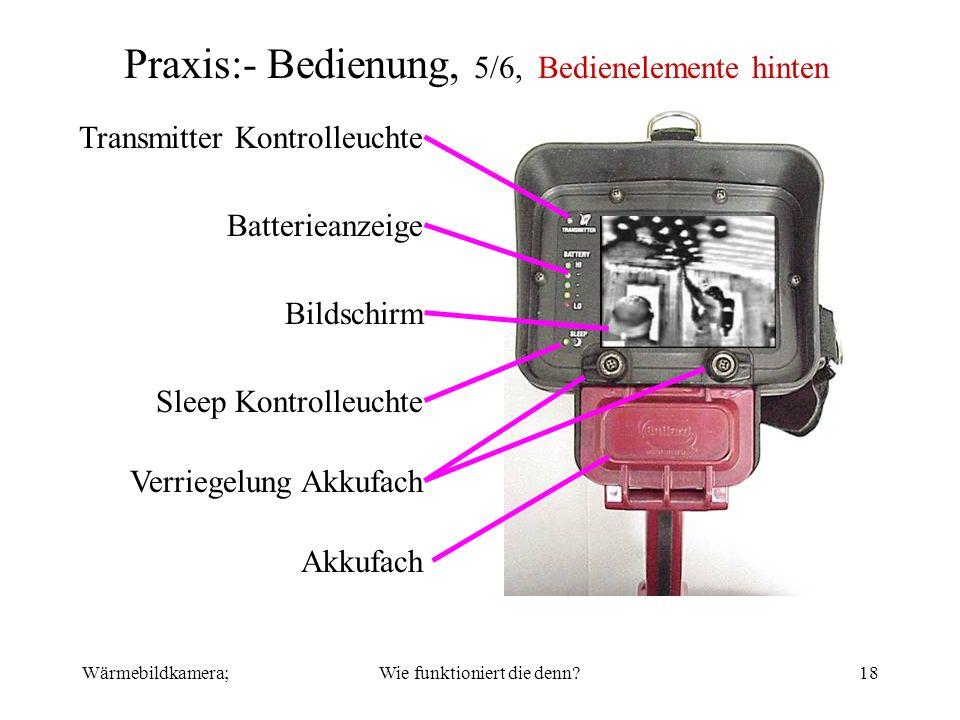 Wärmebildkamera;Wie funktioniert die denn?18 Praxis:- Bedienung, 5/6, Bedienelemente hinten Transmitter Kontrolleuchte Akkufach Verriegelung Akkufach