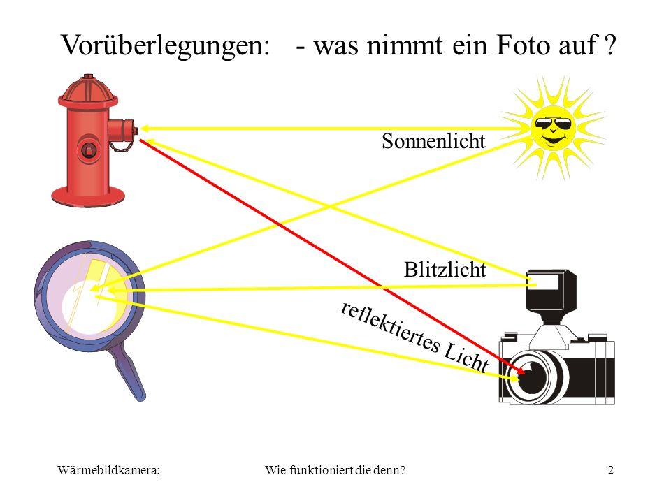 Wärmebildkamera;Wie funktioniert die denn?2 Vorüberlegungen: - was nimmt ein Foto auf ? Sonnenlicht reflektiertes Licht Blitzlicht