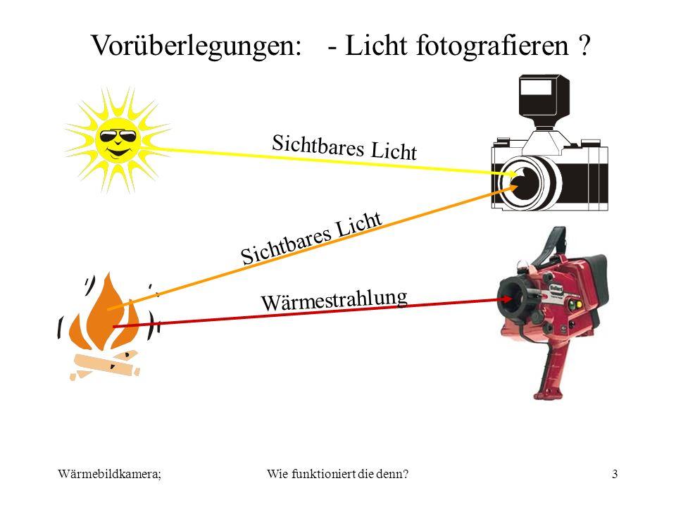 Wärmebildkamera;Wie funktioniert die denn?3 Vorüberlegungen: - Licht fotografieren ? Sichtbares Licht Wärmestrahlung
