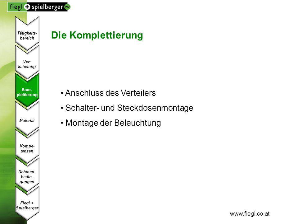 www.fiegl.co.at Die Komplettierung Anschluss des Verteilers Schalter- und Steckdosenmontage Montage der Beleuchtung Ver- kabelung Kom- plettierung Mat