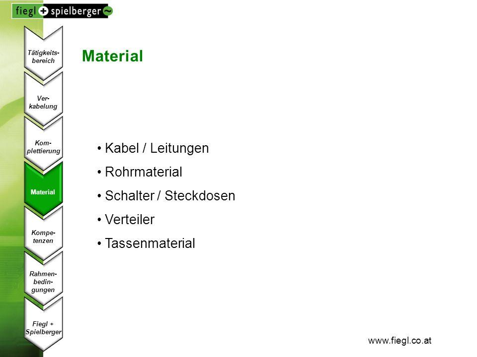 www.fiegl.co.at Material Kabel / Leitungen Rohrmaterial Schalter / Steckdosen Verteiler Tassenmaterial Ver- kabelung Kom- plettierung Material Kompe-