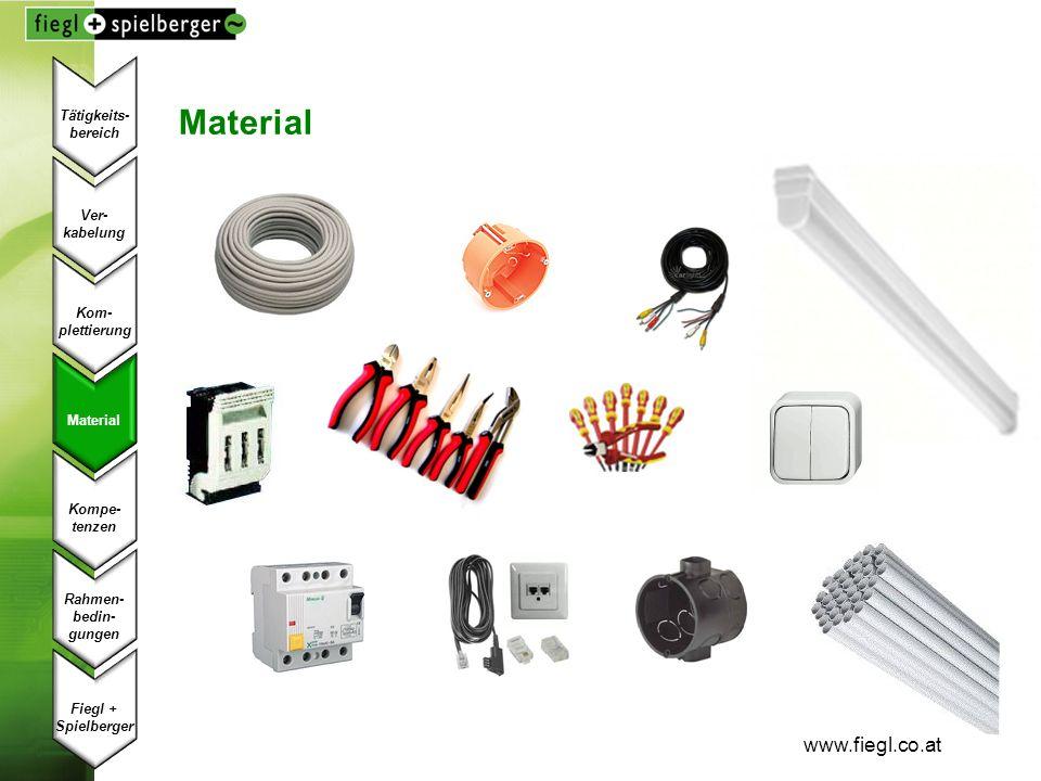 www.fiegl.co.at Material Ver- kabelung Kom- plettierung Material Kompe- tenzen Fiegl + Spielberger Rahmen- bedin- gungen Tätigkeits- bereich