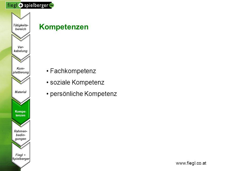 www.fiegl.co.at Kompetenzen Fachkompetenz soziale Kompetenz persönliche Kompetenz Ver- kabelung Kom- plettierung Material Kompe- tenzen Fiegl + Spielb