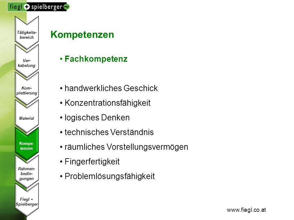 www.fiegl.co.at Kompetenzen Fachkompetenz handwerkliches Geschick Konzentrationsfähigkeit logisches Denken technisches Verständnis räumliches Vorstell
