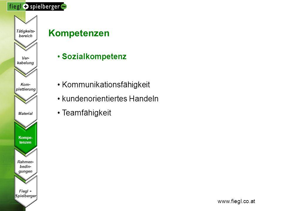 www.fiegl.co.at Kompetenzen Sozialkompetenz Kommunikationsfähigkeit kundenorientiertes Handeln Teamfähigkeit Ver- kabelung Kom- plettierung Material K