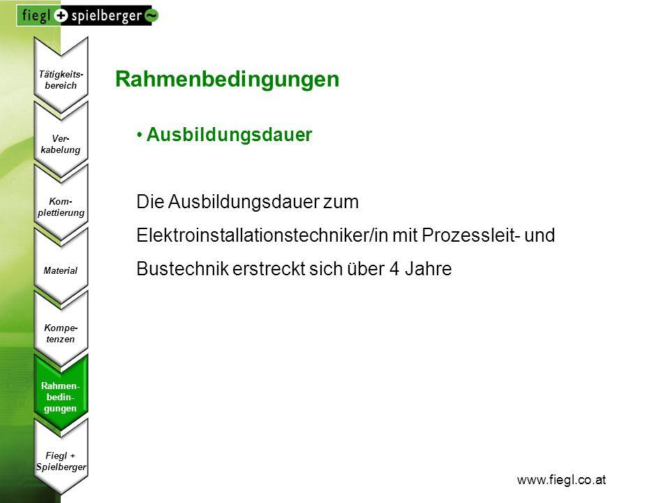 www.fiegl.co.at Rahmenbedingungen Ausbildungsdauer Die Ausbildungsdauer zum Elektroinstallationstechniker/in mit Prozessleit- und Bustechnik erstreckt