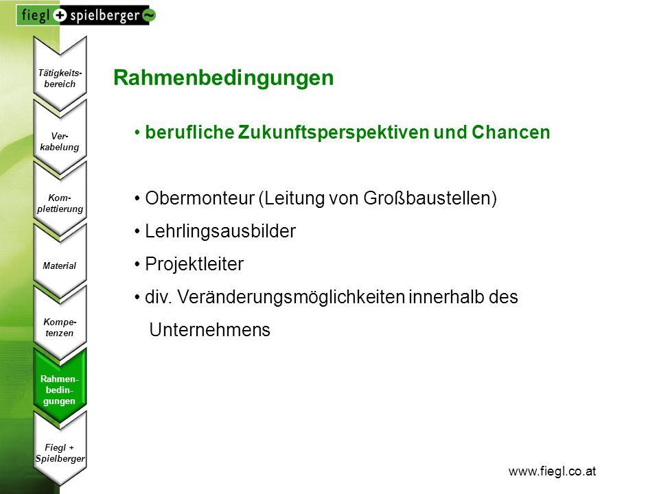 www.fiegl.co.at Rahmenbedingungen berufliche Zukunftsperspektiven und Chancen Obermonteur (Leitung von Großbaustellen) Lehrlingsausbilder Projektleite