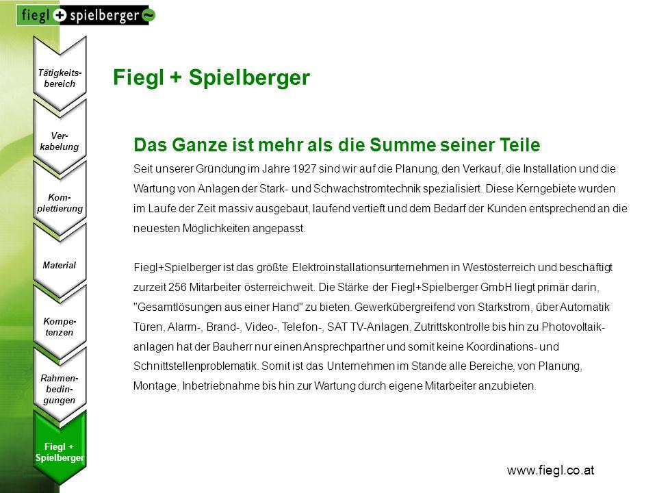 www.fiegl.co.at Ver- kabelung Kom- plettierung Material Kompe- tenzen Fiegl + Spielberger Rahmen- bedin- gungen Tätigkeits- bereich Fiegl + Spielberge